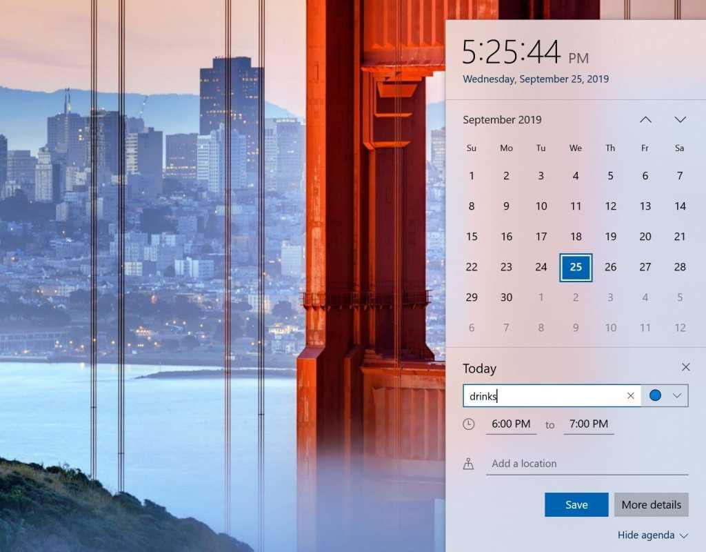 Microsoft Windows 10 19H2  add calendar entry