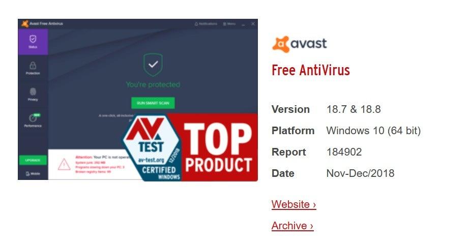 avast top product Av-test