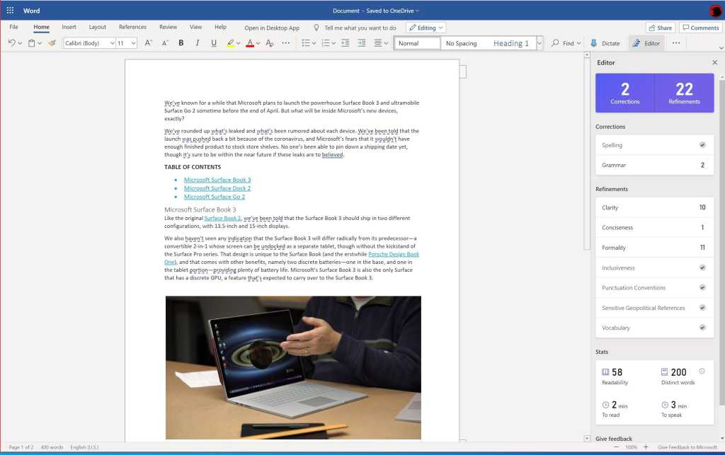 Microsoft Editor for Word Online view initial