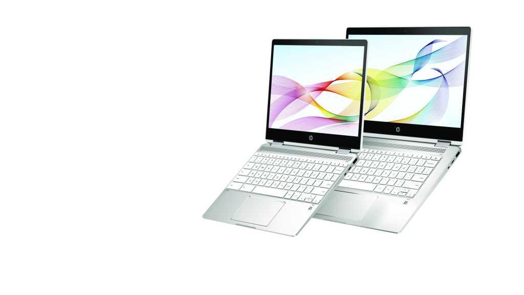 hp chromebook x360 12b and hp chromebook x360 14 in natural silver