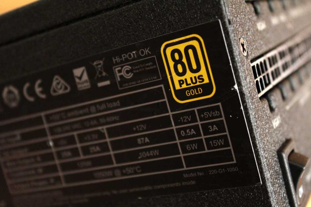 Close up of 80 Plus Gold rating logo on an EVGA 1050W power supply