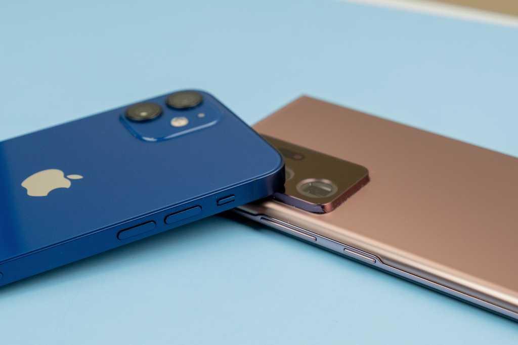 iphone 12 mini and samsung galaxy note 20 ultra corner stack