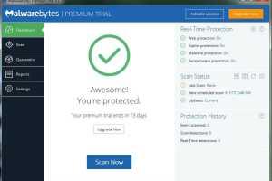 Malwarebytes' Anti-Malware Free detects and removes malware on command