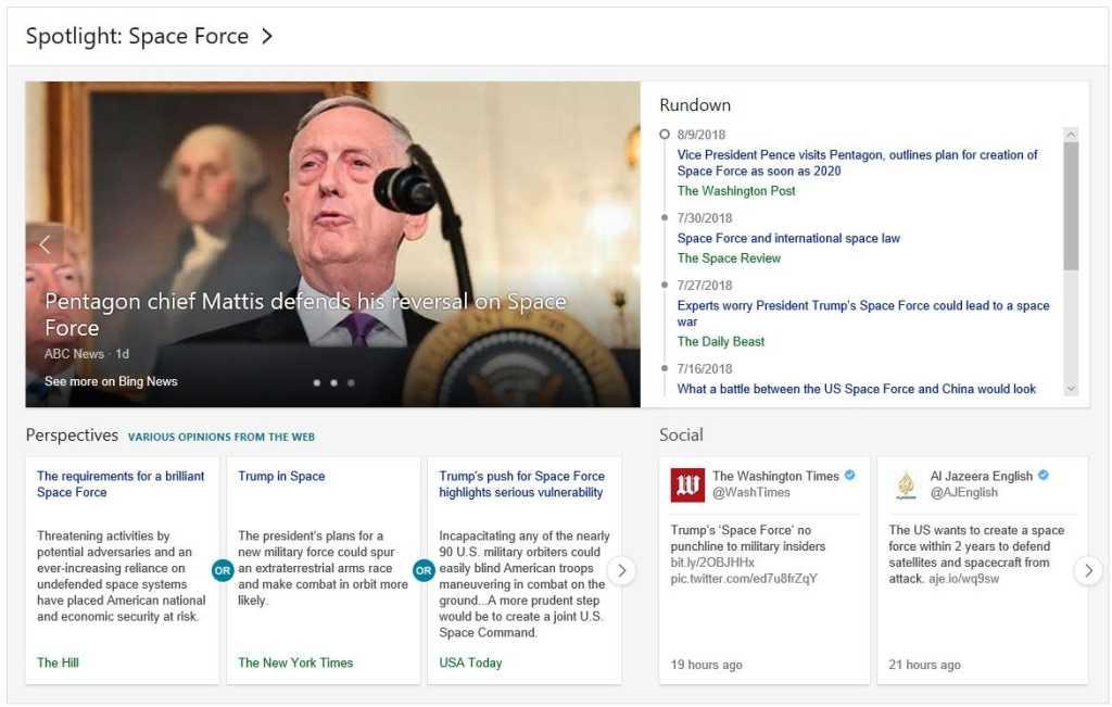 Microsoft Bing spotlight news mp space force
