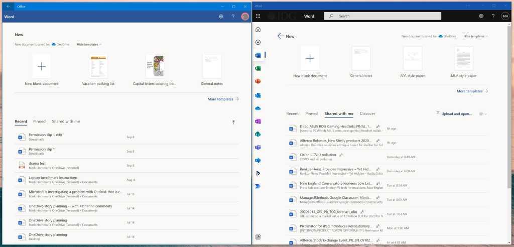 office app vs office pwa Microsoft