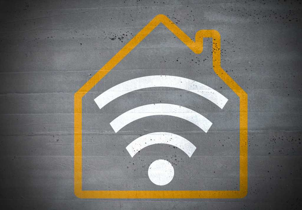 Wi-Fi icon inside the outline of a house