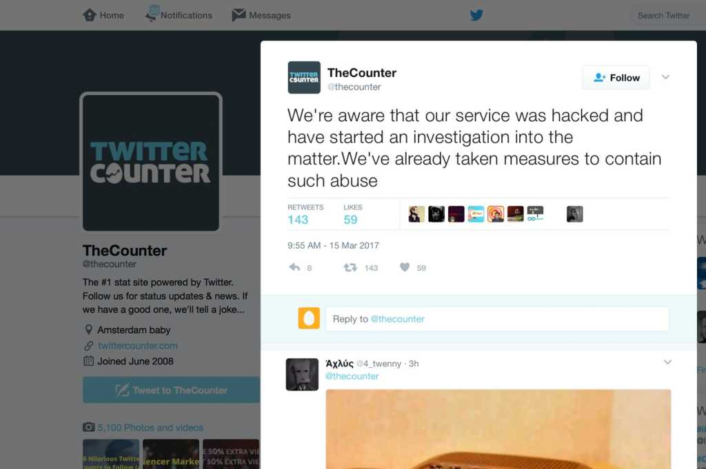 twitter counter hacked