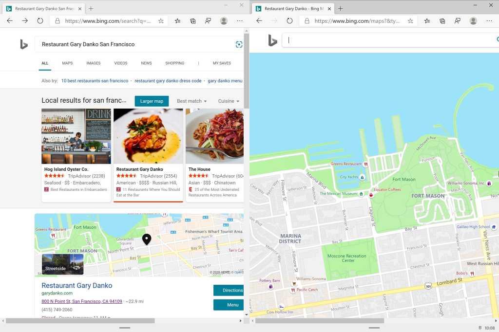 Microsoft windows 10x edge restaurant and map