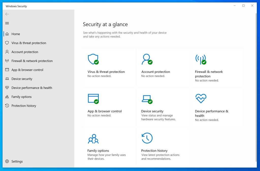 windows security dashboard windows 10