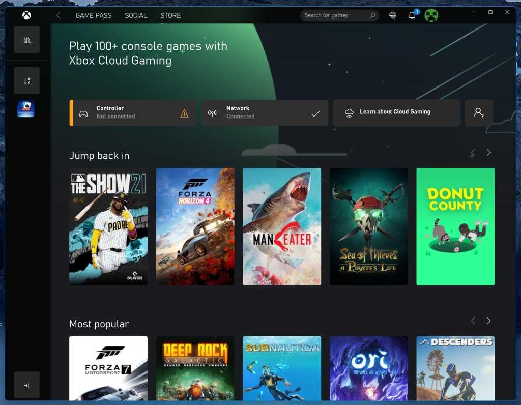 xbox cloud gaming on windows 11 xbox app