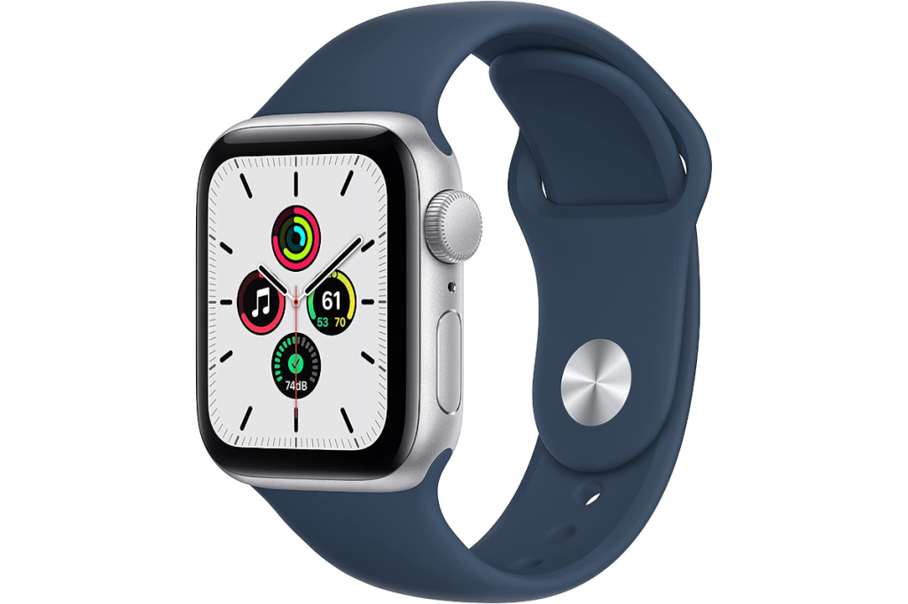 an apple watch SE with a blue sport band, and an analog watch face.