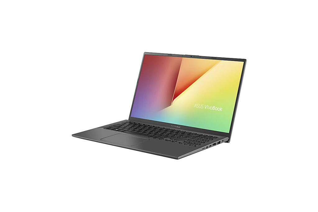 an asus vivobook laptop facing towards the left on a white background