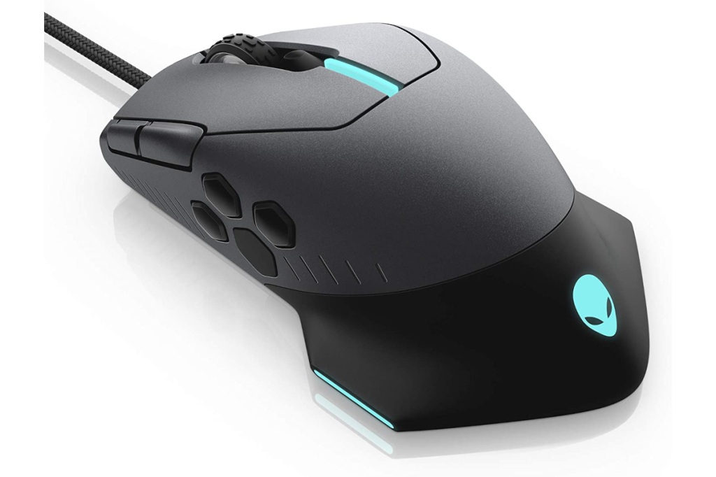 alienware mouse in black and grey on a white background