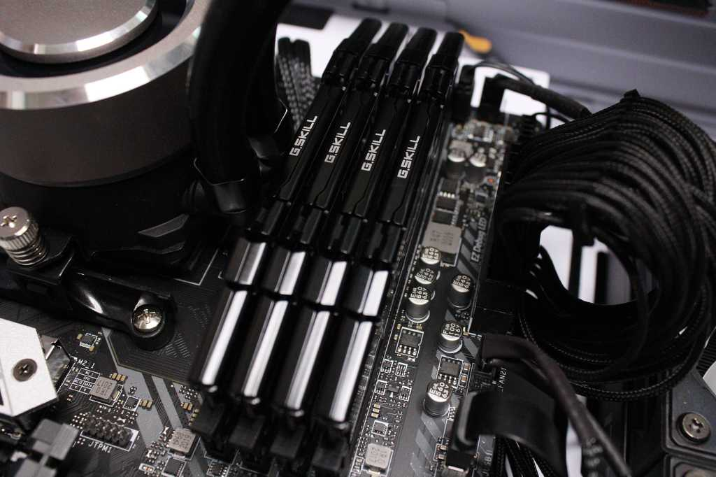 Close up of RAM installed on a motherboard