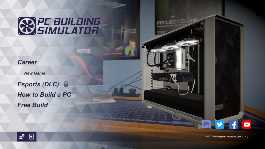 PC Building simulator title screen