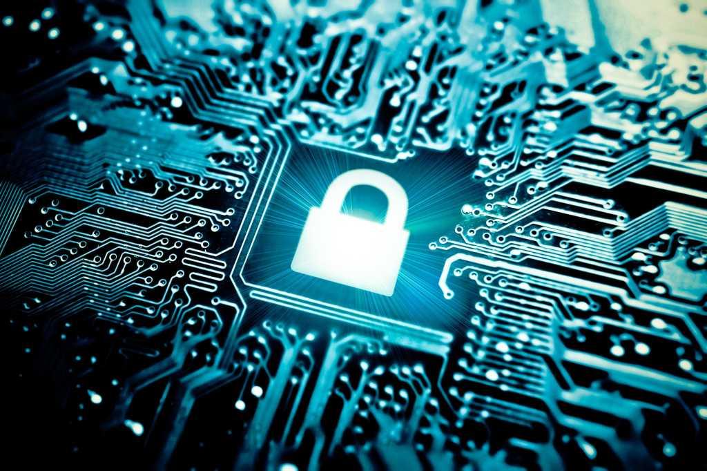 Computer encryption symbol on a circuit board